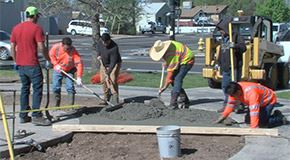 Streets workers lay concrete
