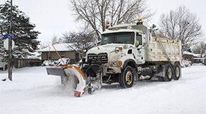 Streets workers get ready to plow snow