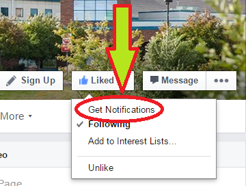 "Stay Updated! Click ""Get Notifications"" on our Facebook page!"